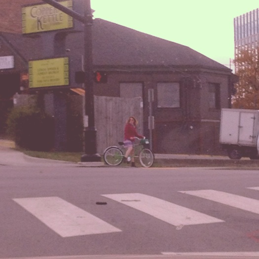 A Bicyclist on Peabody Street